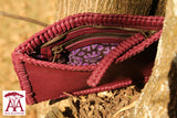 Fully Beaded Pocket Clutch/Shoulder Bag in Purple leather & purple and white beading