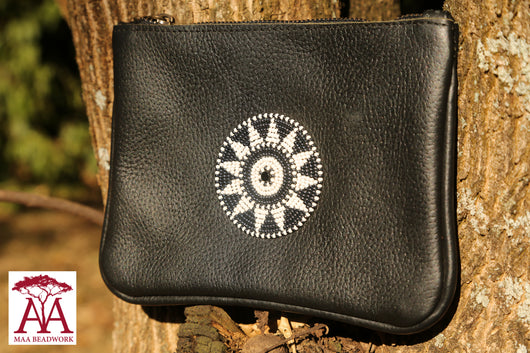 Beaded leather Purse in black grey and white design