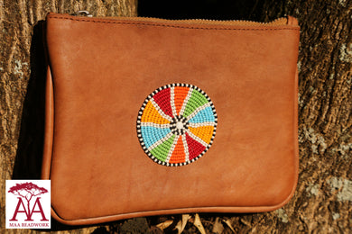 Beaded leather Purse in traditional design