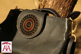 Ladies bag with beaded flag in black and brown design