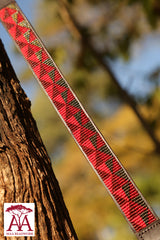 Thin horse brow band in red and bronze beading