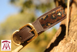 Dog Collar in Brown leopard Diamond design