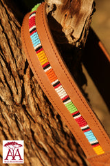 Camera and binocular straps - Tan leather and Traditional beading design