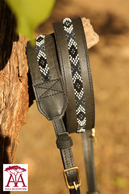 Camera and binocular straps - in black leather and monochrome beading design