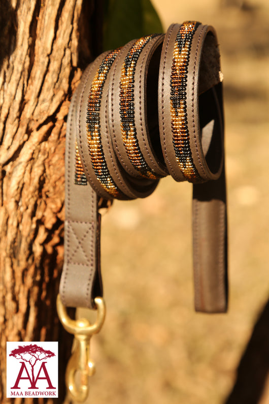 Dog Lead / Leash in bronze brown and gold beading