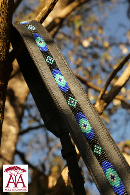 Camera and binocular straps - in black leather and blue fading beading design