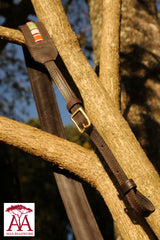 Camera and binocular straps - in dark brown leather and traditional beading design