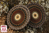 Beaded Leather Coasters in black brown and cream design