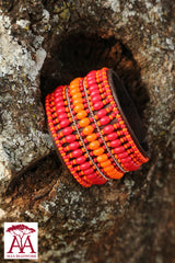 Wide leather bracelet in red big bead deign