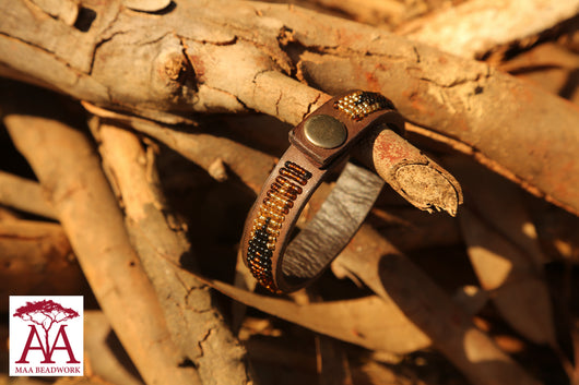 Leather wrap bracelets in brown fading design