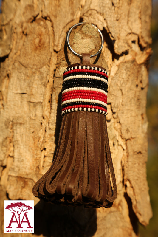 Large folded tassel keyring and bag decoration in Black red and white design
