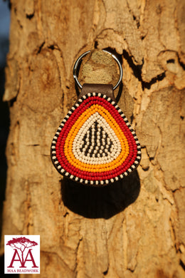 Teardrop keyring in white orange & red