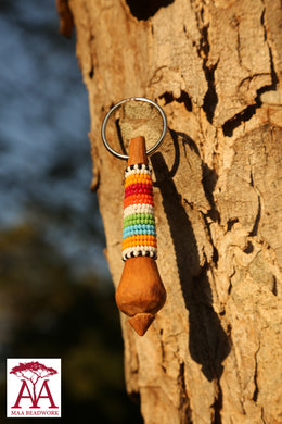 Wooden Keyring in traditional beading
