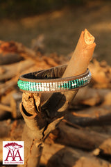 Leather wrap bracelets in turquoise fading