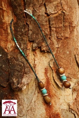 Beaded Bookmark in teal and white