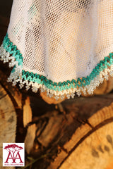 Beaded food net covers in teal fading