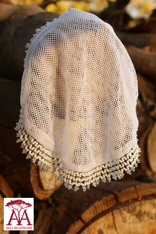 Beaded food net covers in white and silver