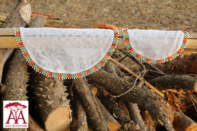 Beaded food net covers multicolored
