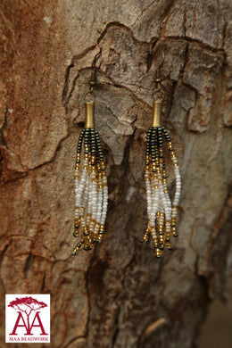 Tassel Earrings in bronze white and gold