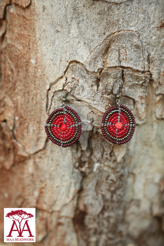 Disc earrings in red-bronze fading