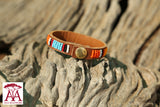 Leather wrap bracelets in traditional Maasai colours, option two