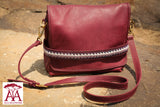 Tuck-in Handbag in purple leather