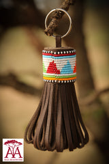 Large folded tassel keyring and bag decoration Multicolored