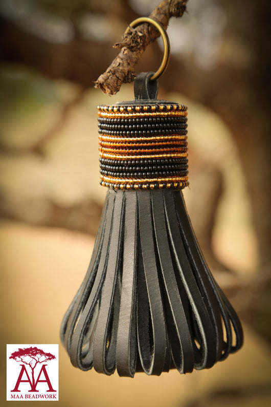 Large folded tassel keyring and bag decoration black & gold stripes