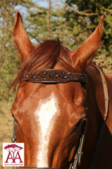 Wide horse brow band in leopard print