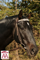 Wide horse brow band in bronze and white diamond design