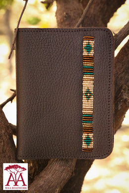 Leather Passport Cover in brown and teal