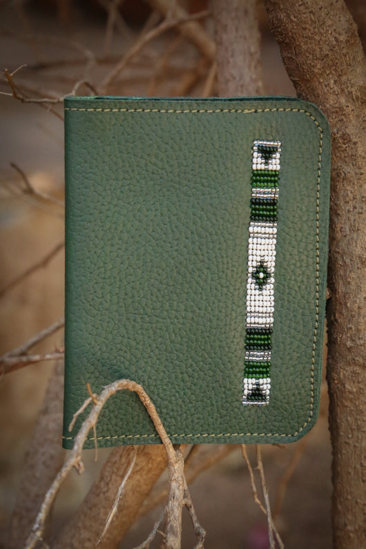 Leather Passport Cover in green