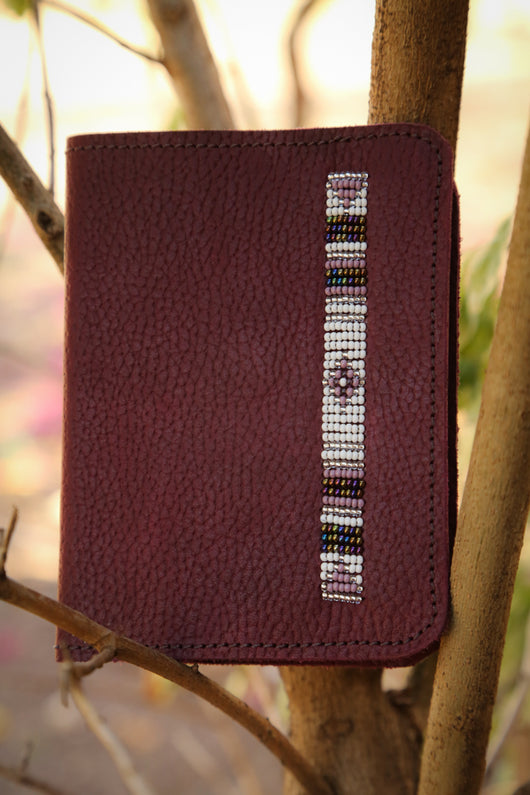 Leather Passport Cover in purple
