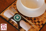 Beaded Leather Napkin Rings in Green & white colors