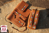 Travel accessories set in Tan leather