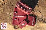 Travel accessories set in purple print leather