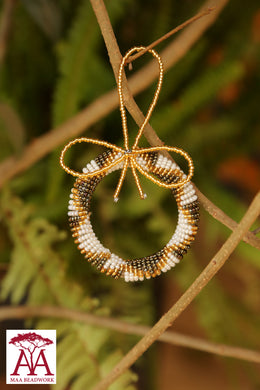 Beaded Christmas Wreaths in white, silver and gold