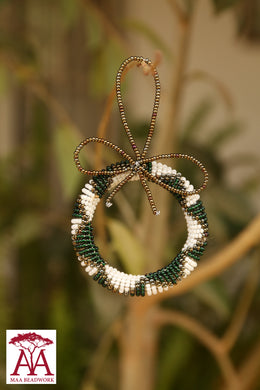 Beaded Christmas Wreaths in pearl, dark green and brass