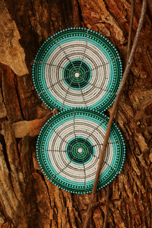 Beaded Wire Coasters in Green & white beading
