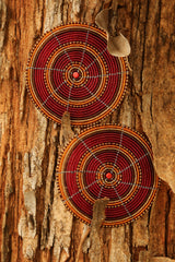 Beaded Wire Coasters in Red & Gold beading