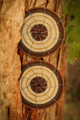 Beaded Wire Coasters in Brown & Cream beading