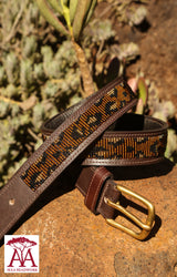 "1.25"" Animal Print Belt in gold and brown"