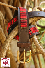 "1.5"" Striped Belt in red"