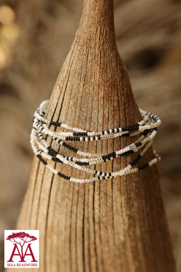 Wrap bead bracelet in monochrome