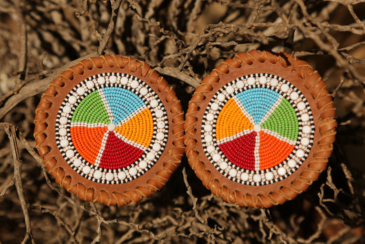 Beaded Leather Coasters in Traditional colors