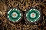 Beaded Leather Coasters in Green & white colors