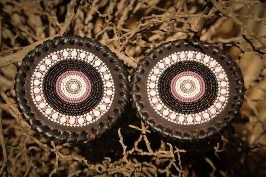 Beaded Leather Coasters in Purple & White colors
