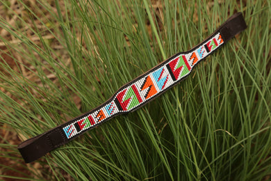 Wide horse brow band in bright traditional Maasai colors