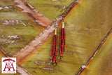 Tassel Earrings in red-bronze fading