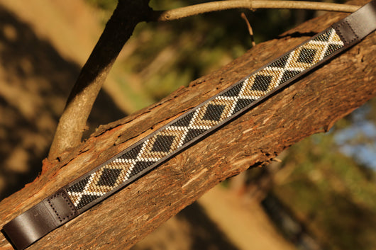 Thin horse brow band in metallic bronze,  shinny gold and white